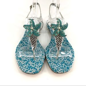 Rafe New York silver Starfish Sandals Sz 7